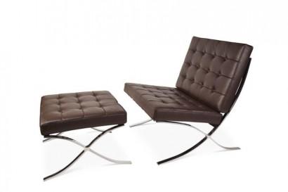 Barcelo bőr fotel és lábtartó - sötétbarna oil wax