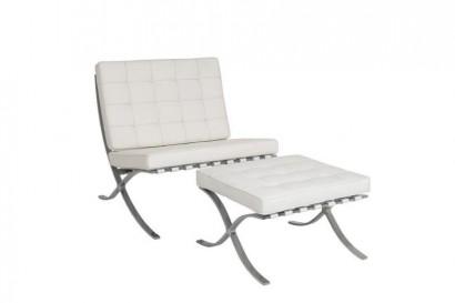 Barcelo fotel és lábtartó - fehér bőr