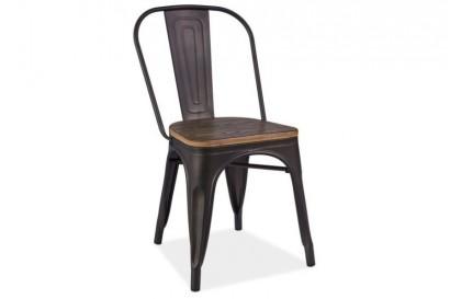 Paris szék grafit - fa ülőlappal