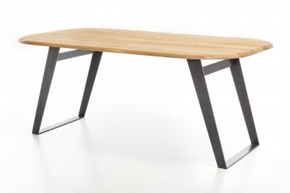 Standart Odin asztal - fém lábbal - 160cm - olajozott fehérített tömör tölgy