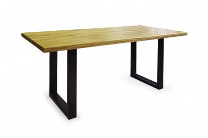 Standart Quentin rusztikus tömör tölgy asztal - 3 méretben - fém lábbal